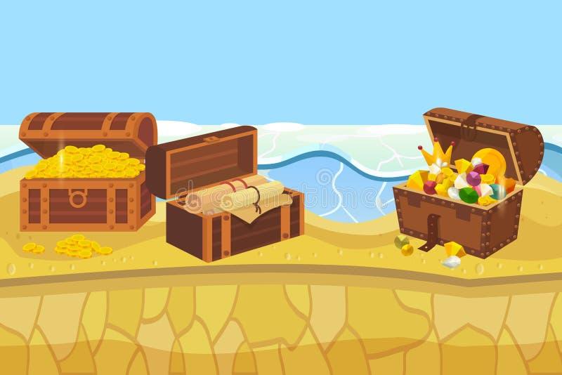 Ilha do tesouro com as moedas da caixa e de ouro e a ilustração do vetor da bandeira da joia Acessórios caros tais como a coroa ilustração do vetor