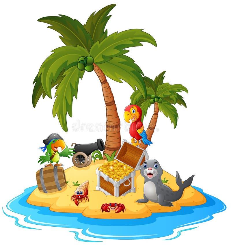 Ilha do tesouro dos desenhos animados ilustração royalty free