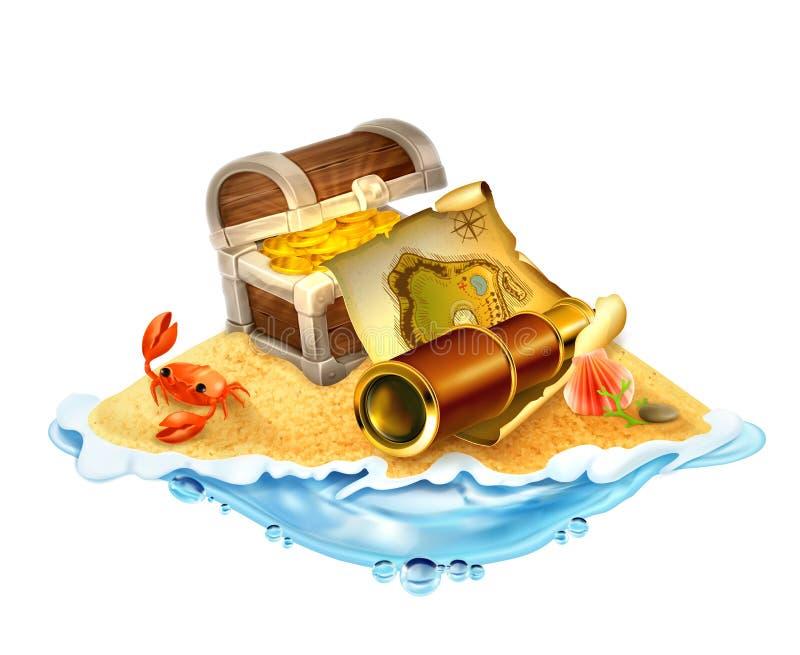 Ilha do tesouro, ilustração do vetor ilustração royalty free