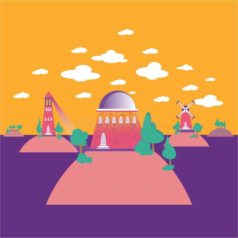 Ilha dos desenhos animados do palácio com montes e nuvens ilustração do vetor