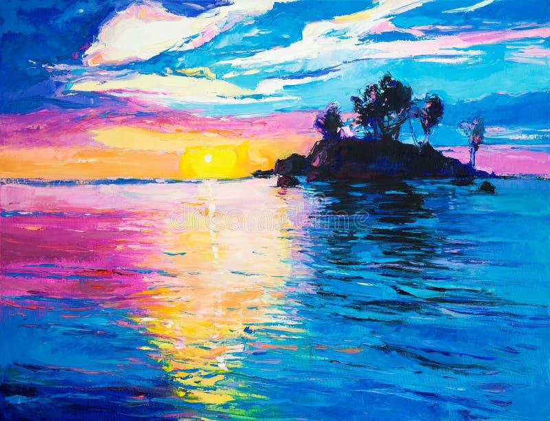Ilha e mar ilustração stock