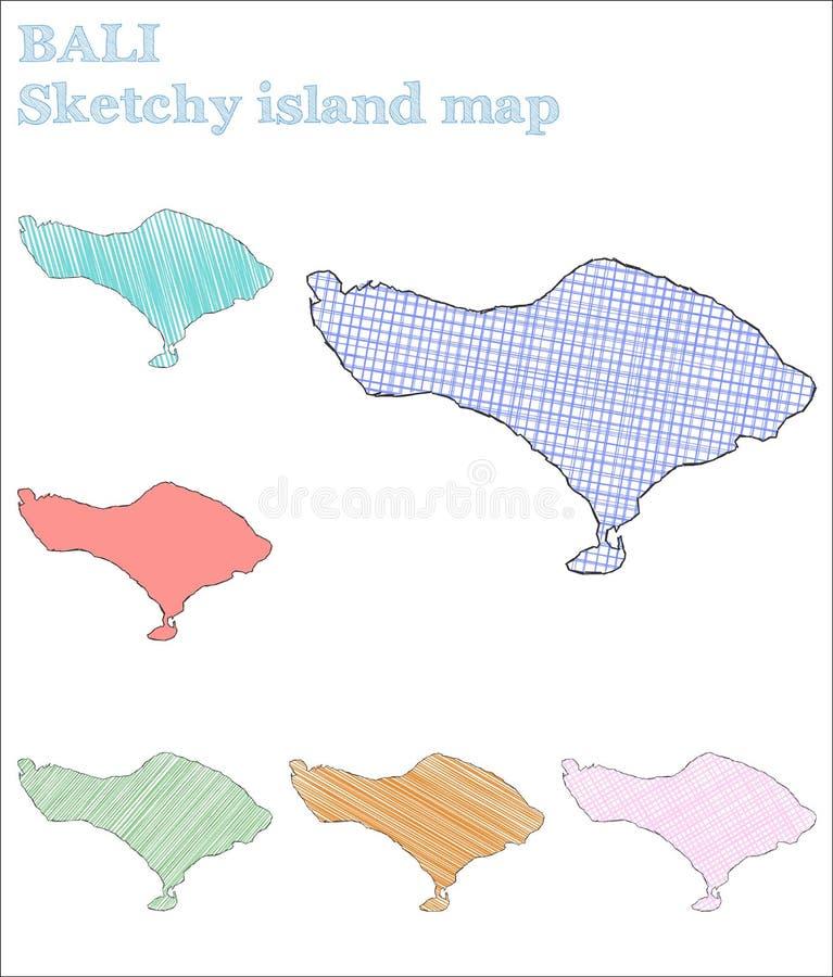 Ilha esboçado de Bali ilustração do vetor