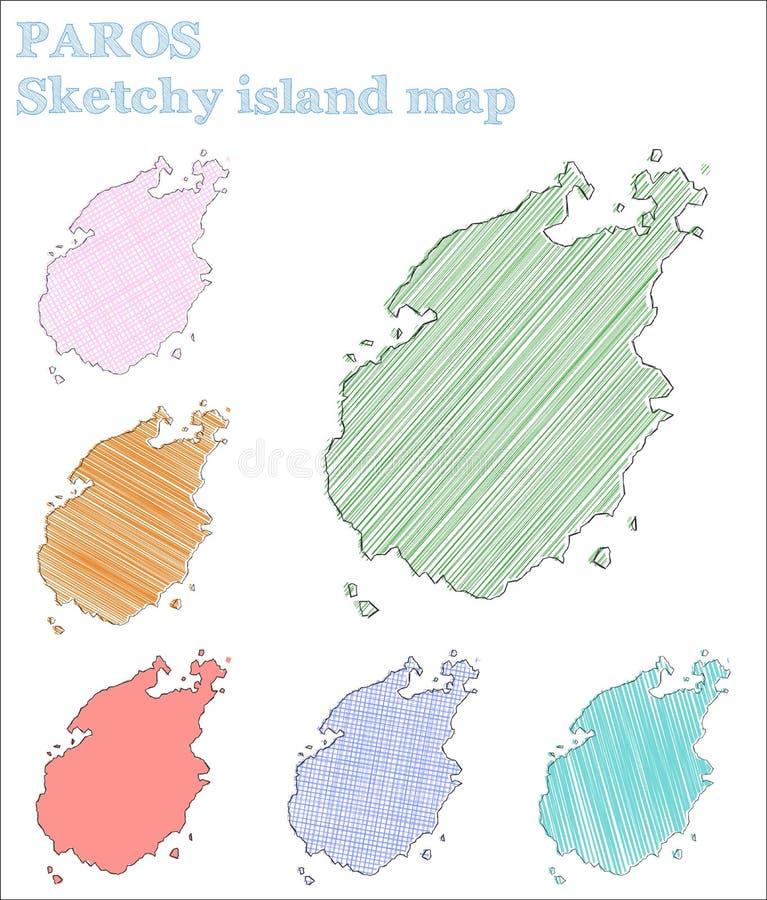 Ilha esboçado de Paros ilustração do vetor