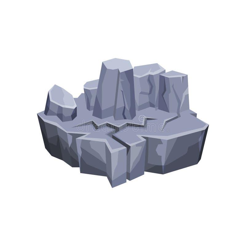 Ilha fantástica da paisagem da montanha para a interface de utilizador do jogo, o elemento para jogos de vídeo, o computador ou o ilustração stock