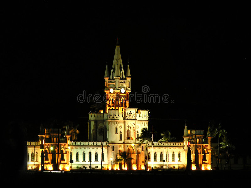 Ilha Fiscal Palace night scene. Scenic view of Ilha Fiscal Palace illuminated at night, Rio de Janeiro, Brazil stock images