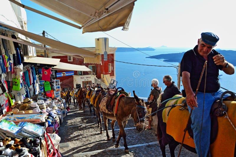 Ilha Grécia de Santorini da atração turística do trajeto do asno foto de stock