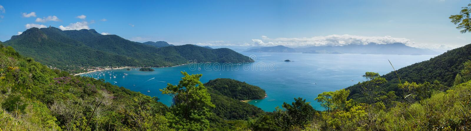 Ilha Grande, Brazil. Panoramic image of a beautiful bay on the island of Ilha Grande, Brazil stock photos