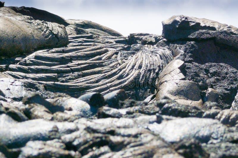 Ilha grande solidificada do parque nacional do kilawuea do córrego da lava foto de stock royalty free