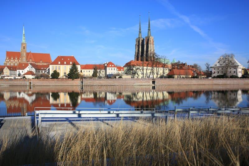 A ilha histórica de Tumski em Wroclaw, Polônia fotos de stock royalty free