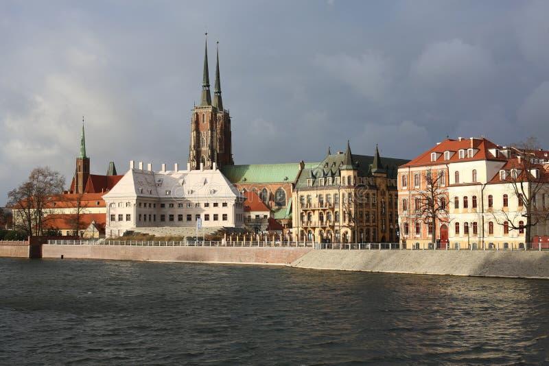 A ilha histórica de Tumski em Wroclaw, Polônia imagem de stock royalty free