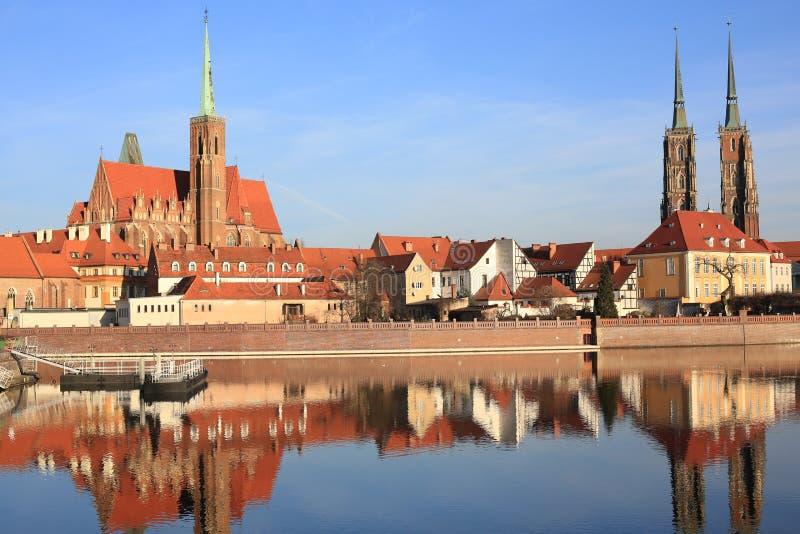 A ilha histórica de Tumski em Wroclaw, Polônia imagens de stock royalty free