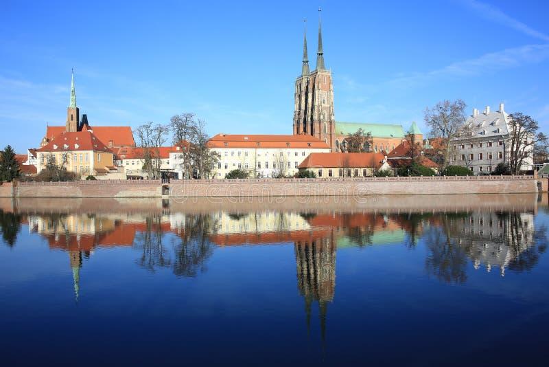 A ilha histórica de Tumski em Wroclaw, Polônia imagem de stock