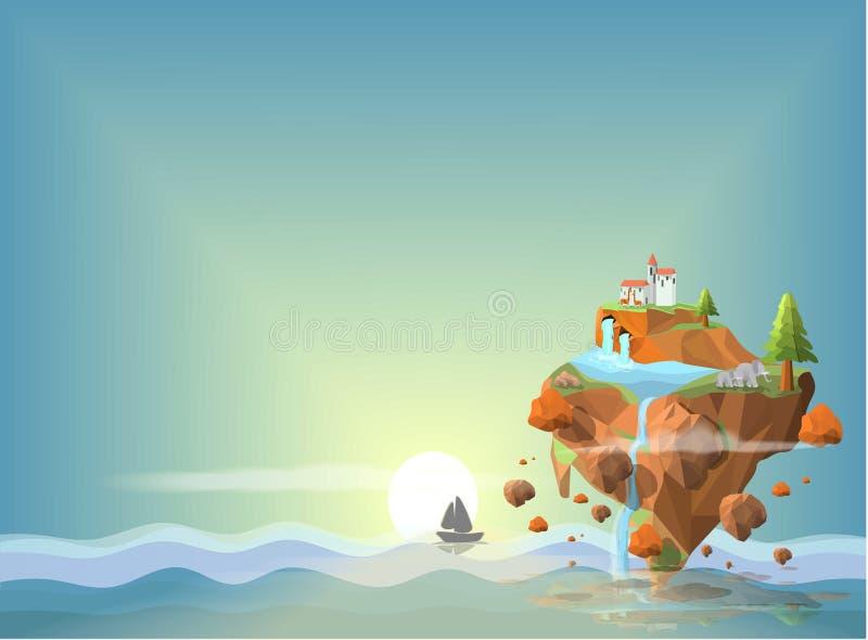 Ilha ideal no ponto baixo do mar poli ilustração royalty free
