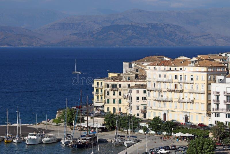 Ilha Ionian da cidade de Corfu imagens de stock royalty free