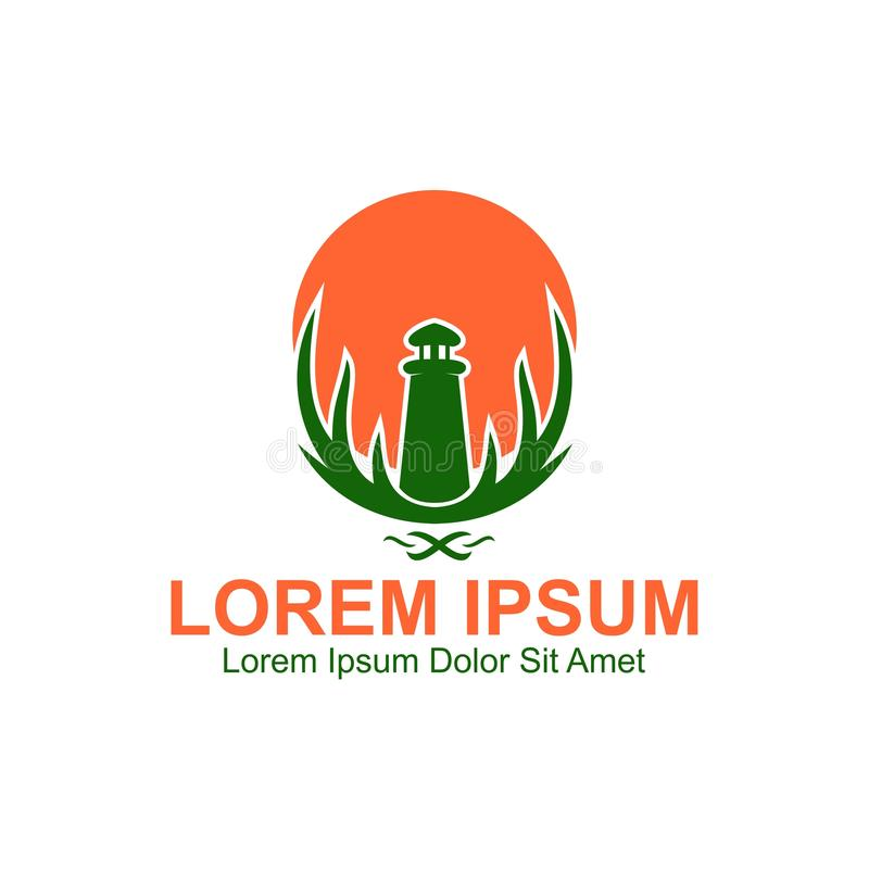 Ilha Logo Template do farol & dos cervos ilustração royalty free