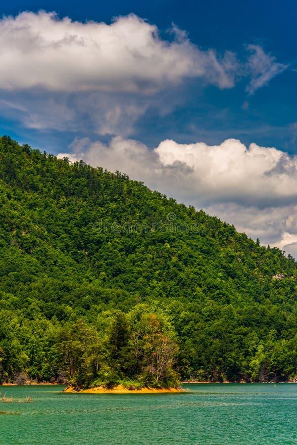 Ilha no lago Watauga, floresta nacional Cherokee, Tennessee foto de stock