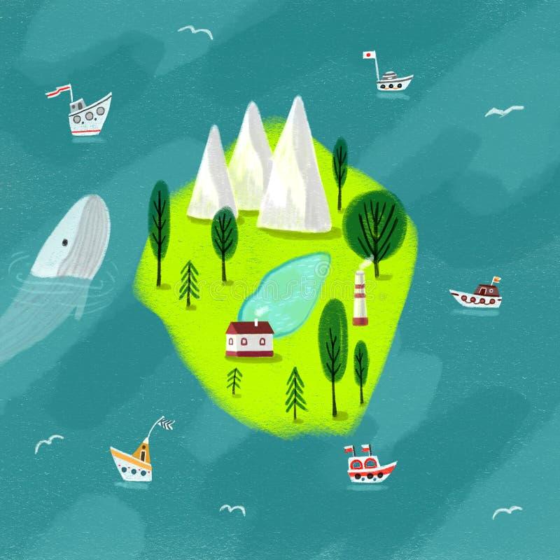 Ilha no mar azul ilustração stock