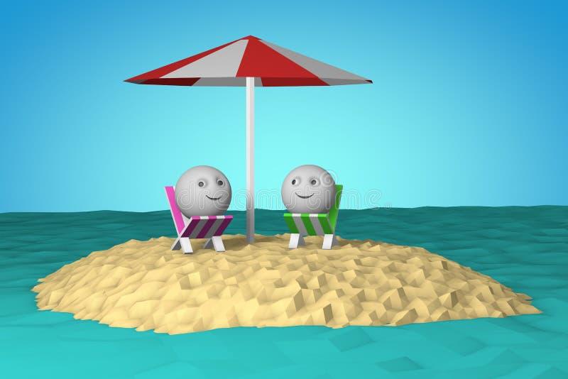Ilha no oceano com símbolo do smiley da forma 3d da bola ilustração royalty free