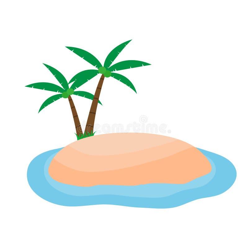 Ilha pequena com árvore de coco ilustração do vetor