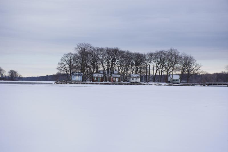 Ilha pequena no lago congelado imagem de stock royalty free