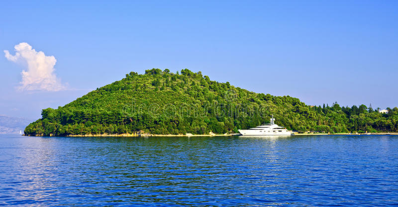 Ilha privada de Skorpios, Grécia imagens de stock
