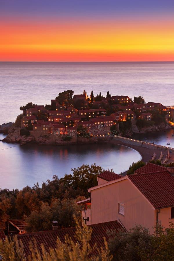 Ilha Sveti Stefan - Montenegro imagem de stock royalty free