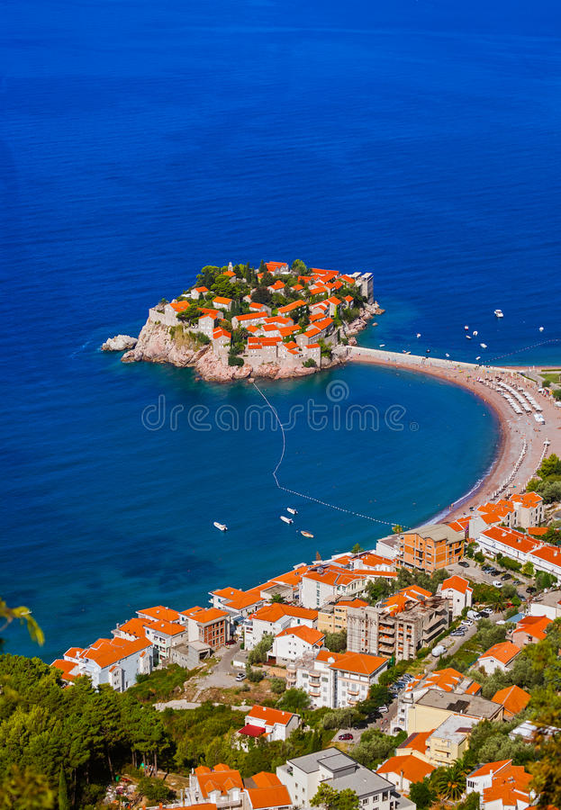 Ilha Sveti Stefan - Montenegro fotos de stock
