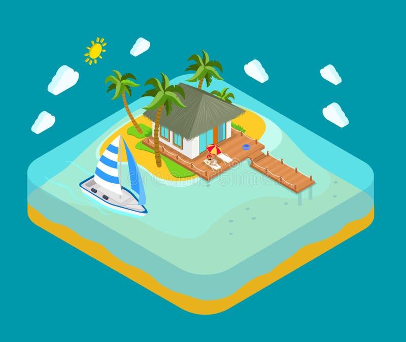 Ilha tropica, mar, praia - conceito isométrico das férias do curso ilustração stock