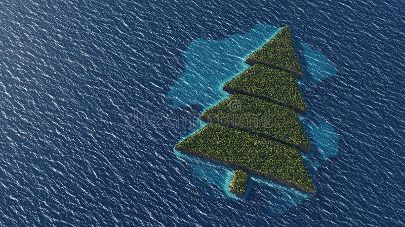 Ilha tropical árvore-dada forma Natal ilustração do vetor