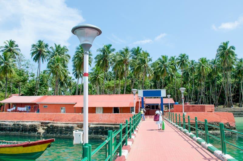Ilha tropical bonita da paisagem de Ross Andaman Sea fotografia de stock royalty free