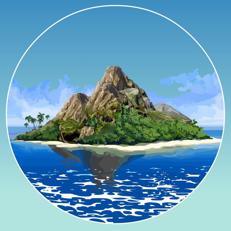 Ilha tropical bonita pintada com as montanhas no mar azul ilustração do vetor