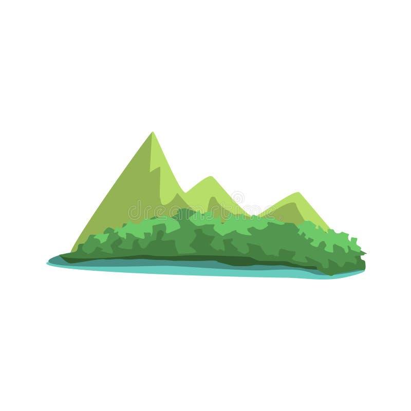 Ilha tropical com elemento da paisagem da selva do Mountain View ilustração royalty free