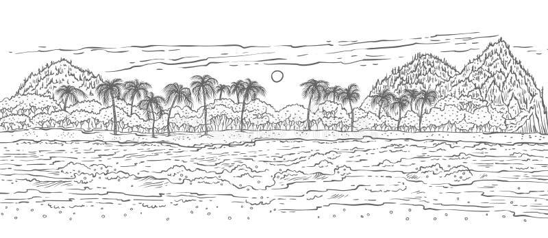 A ilha tropical de Sandy com mar acena a ressaca e as palmeiras Praia branca preta da paisagem do esboço do vetor no oceano para  ilustração stock