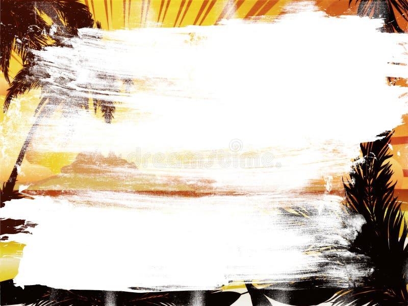 Ilha tropical do por do sol do Grunge ilustração do vetor
