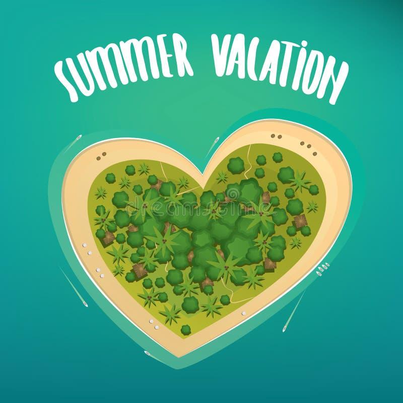 Ilha tropical na forma de um coração ilustração royalty free