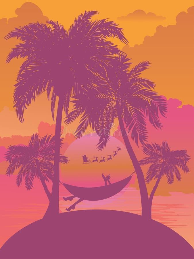 Ilha tropical Sunrise ilustração do vetor