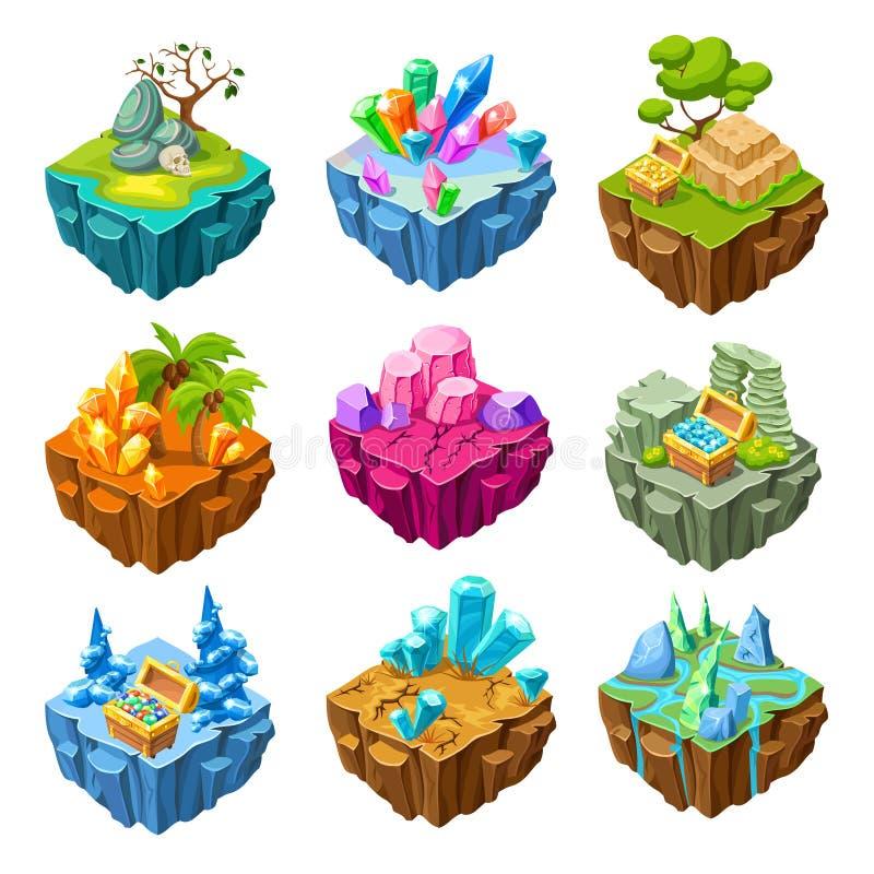 Ilhas do jogo com grupo isométrico das pedras ilustração stock
