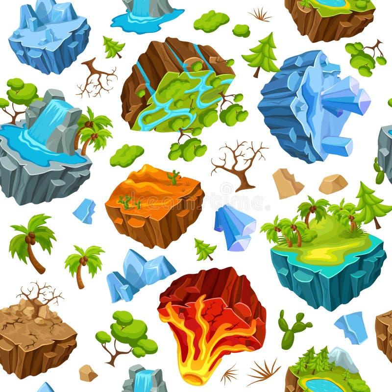 Ilhas do jogo e teste padrão dos elementos da natureza ilustração stock