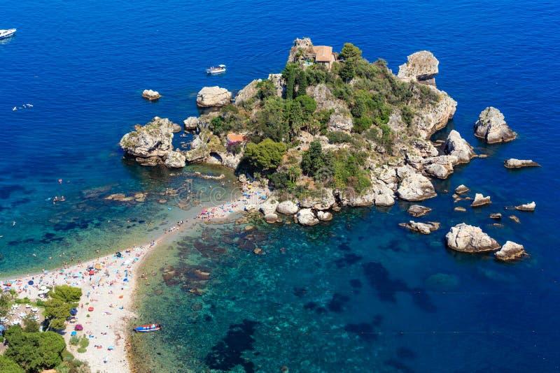 Ilhota de Taormina Isola Bella, Sicília fotos de stock royalty free