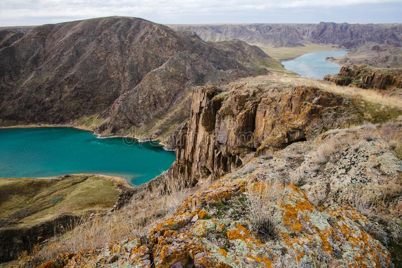 Ili River in spring. Kazakhstan. Almaty Region. The source is in China. It flows into Lake Balkhash royalty free stock photography