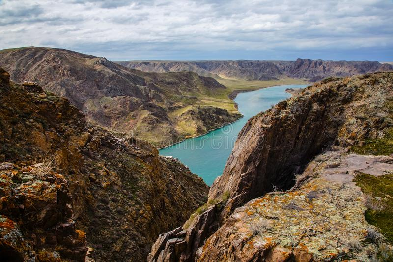 Ili River in spring. Kazakhstan. Almaty Region. The source is in China. It flows into Lake Balkhash stock photography