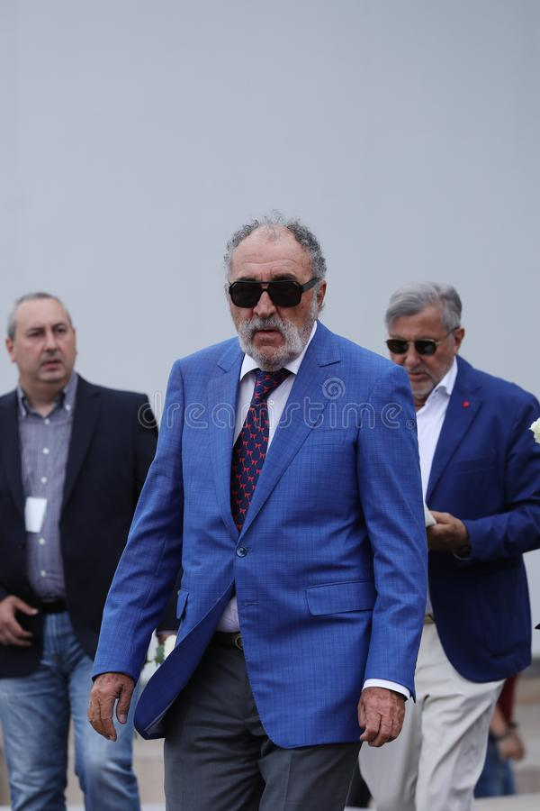 Ilie Nastase Tiriac czeka Simona Halep i jon fotografia stock