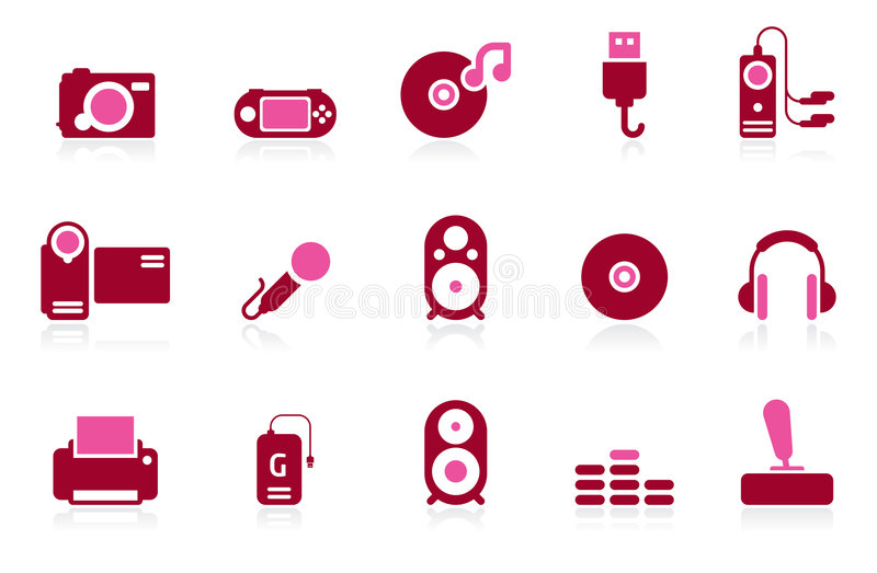 ILife. A set of 2 coloured icons based on electronic gadgets vector illustration