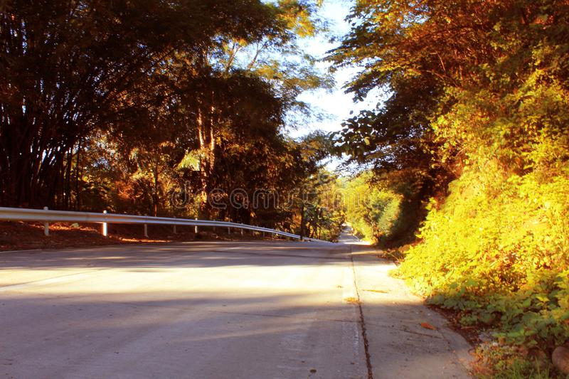Iligan road to Bukidnon. Morning shot of a long Iligan Bukidnon road in Iligan City Philippines Month of October 2017 stock image