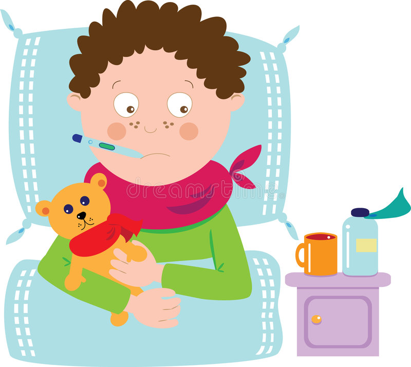 Ill boy. With teddy and medicine stock illustration