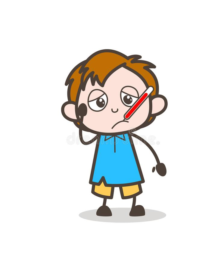 Ill Boy with Fever Thermometer - Cute Cartoon Kid Vector stock illustration