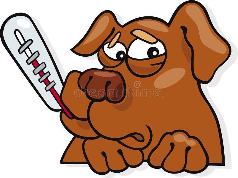 Ill dog icon. Cartoon illustration of unhappy ill dog stock illustration