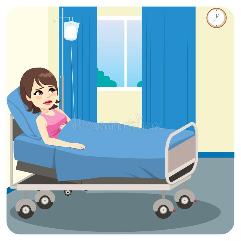 Ill Female Patient Worried royalty free illustration