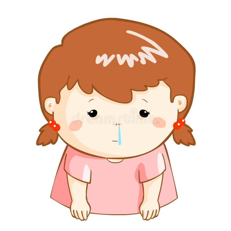 Ill girl runny nose cartoon. Ill girl runny nose because flu disease vector illustration