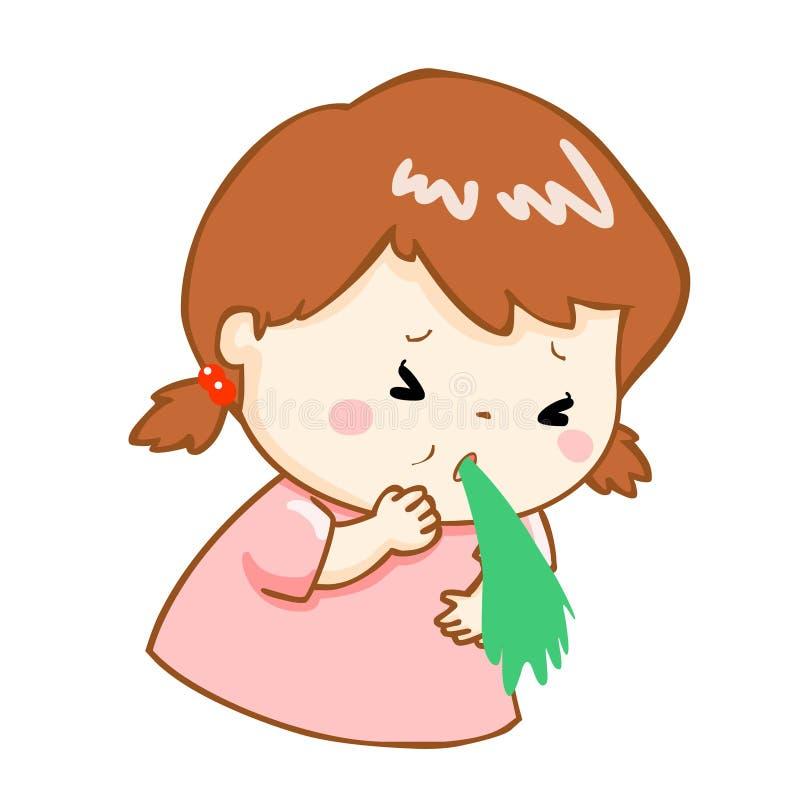 Ill girl vomiting cartoon. Ill girl vomiting because food poisoning stock illustration